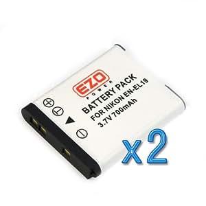 2 X EZOPower EN-EL19 ENEL19 Batterie Lithium-Ion -700mAh Pour Nikon Coolpix S2500, S3100, S4100, S4150, S32, S6800, S5300, S3600, Appareil photo