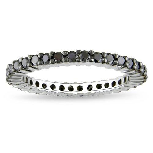 Sterling Silver 1 CT TDW Black Diamond Black Rhodium Plated Eternity Ring