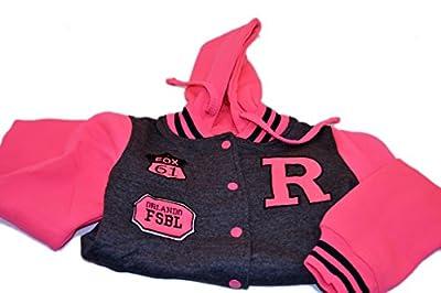 Urban Diva Urban Kids Two-Tone Charcoal Gray and Hot Pink Athletic Baseball Jacket Varsity Hooded Jogger Sweatshirt for Girls