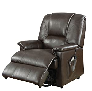 ACME 10652 Reseda Recliner with Lifted and Massage Function, Brown PU