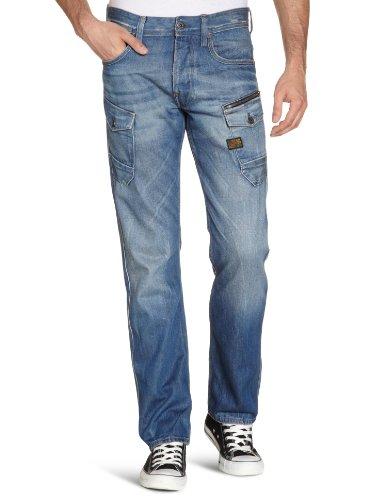 G-Star Men's Navy Attacc Straight - 50747 Straight Leg Jeans Blue (Medium Aged 71) 31/30