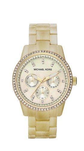 Michael Kors Horn Bracelet Gold Tone Glitz Ladies Watch #Mk5281