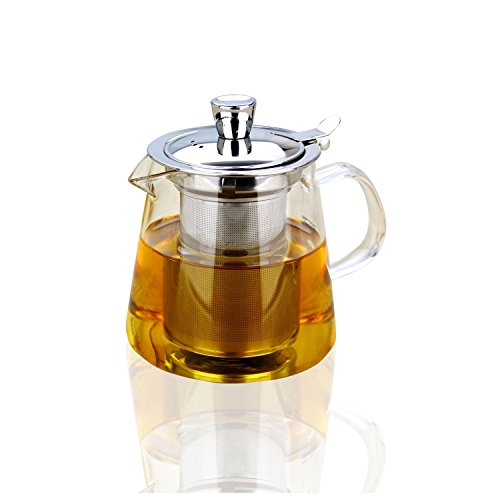 Glass Teapot,21 oz Borosilicate Glass Teapots with Stainless Steel Infuser and Lid,Ultralight High Heat Resistance for Flower Tea and Loose Leaf Tea Pot (600ml) (21 Oz Glasses With Lids compare prices)