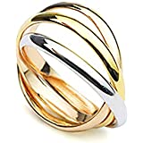 Classical Russian 18K Tri-Gold Overlay Wedding Ring
