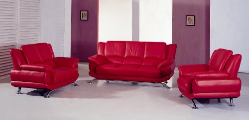 Modern Contemporary Red Leather Living Room Set Sofa Loveseat Chair