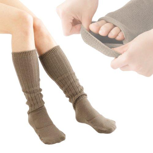 遠赤繊維 セラフィ ウォーマー 靴下 レッグウォーマー あったか靴下 快適くるりんウォーマー ブラウン