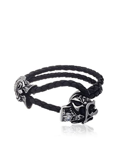 1913 Two-Row Black Leather CZ Skull Bracelet