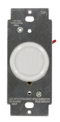 Leviton 6639-10Z Trimatron 1.5A Rotary Quiet Fan Speed Control, Single-Pole, White/Ivory/Light Almond