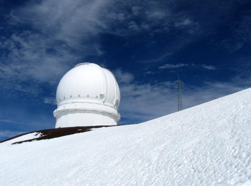 Noel Hawkins/National Geographic My Shot Mauna Kea Wall Decals The Canada-France-Hawaii Telescope On A Snowy Mountain Top - 18 Inches X 13 Inches - Peel And Stick Removable Graphic