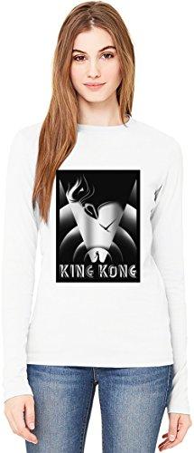 King kong movie poster T-Shirt da Donna a Maniche Lunghe Long-Sleeve T-shirt For Women| 100% Premium Cotton Ultimate Comfort Medium