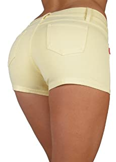 Basic Short Shorts Premium Stretch French Terry Moleton With a gentle butt lifting stitching in Pastel yellow Size M