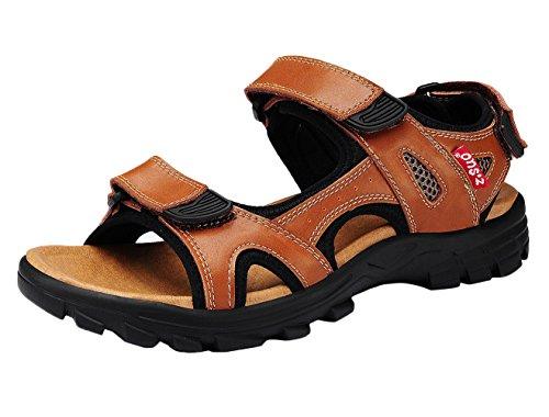 dqq-mens-brown-leather-velcro-strap-sandal-9-us
