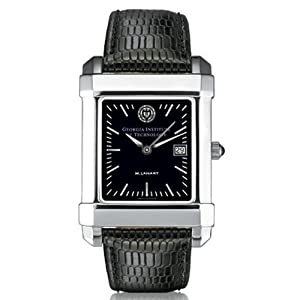 Georgia Tech Mens Swiss Watch - Black Quad with Leather Strap by M.LaHart & Co.