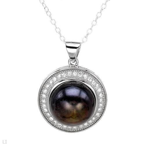 Sterling Silver Pearl and 0.68 CTW Cubic Zirconia Ladies Necklace. Length 18 in. Total Item weight 5.5 g.