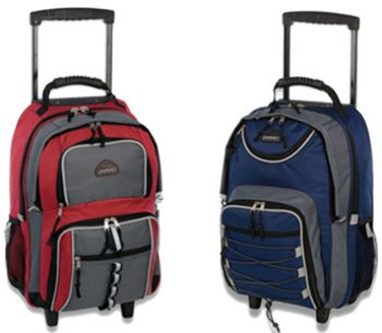 """Double Compartment Design Backpack On Wheels [6 Pieces] *** Product Description: Wholesale Backpack On Wheels. * Multi-Pocket Design * Reflective Accent Trim * Telescope Handle * Mesh And Organizer Pocket * 2 Assorted Styles * Size: 19"""" X 13"""" X 9 ***"""