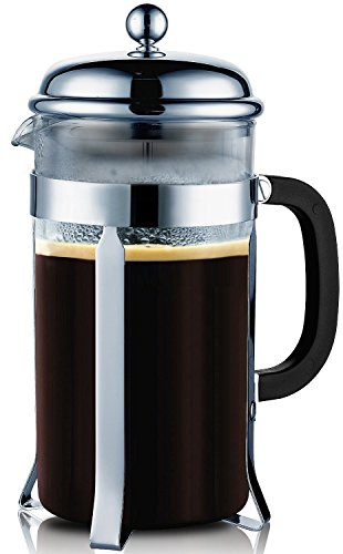 Francois Et Mimi Single Wall Borosilicate Glass French Coffee Press, 34-Ounce, Chrome