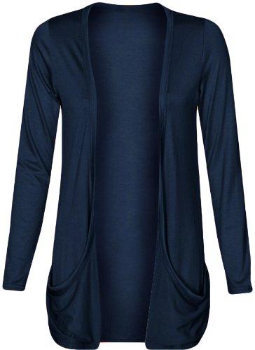 Fashion Wardrobe Womens Long Sleeves Drop Pocket Boyfriend Cardigan Ladies Open Casual Tops 8-14 (US..