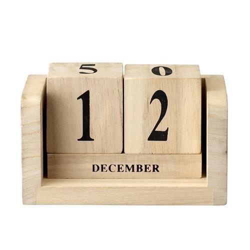 Kalender Dauerkalender aus Holz, natur