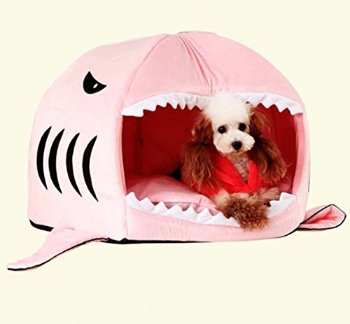 Prettysell® Cute Animal Shark Mouth Design Round Comfortable Indoor House Shelter Puppy Kitten Dog Cave Cat Bed with Big Paw Print and Removable Pet Bed Mat (Small, Pink)