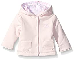 Little Me Girls\' Sweet Lovebirds Reversible Cotton Jacket, White/Pink, 6 Months