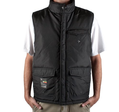 LRG Bushman Utility Padded Gilet Vest Jacket in Black, Size XX-Large