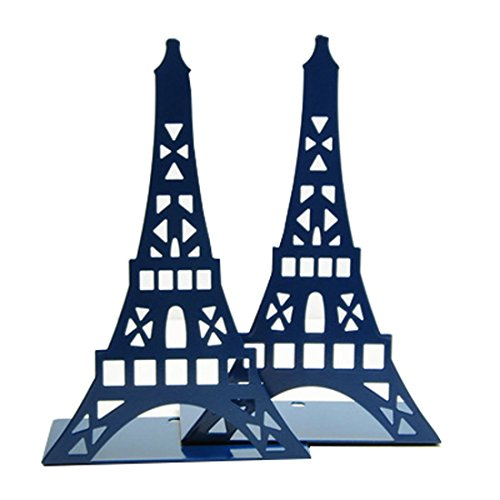 Cute Eiffel Tower Desk Holder Book Organizer Metal Decorative Bookend (Blue)