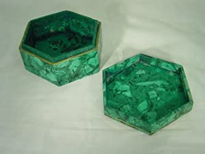 Hand Made in Zaire Malachite Hexagon Jewelry Box Lapidary Carving dl