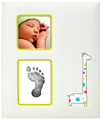 Pearhead Baby Book Giraffe with Clean Touch Ink Pad Included, Ivory