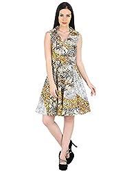Woodin Collar V Neck Animal Print Knee long Dress for Women