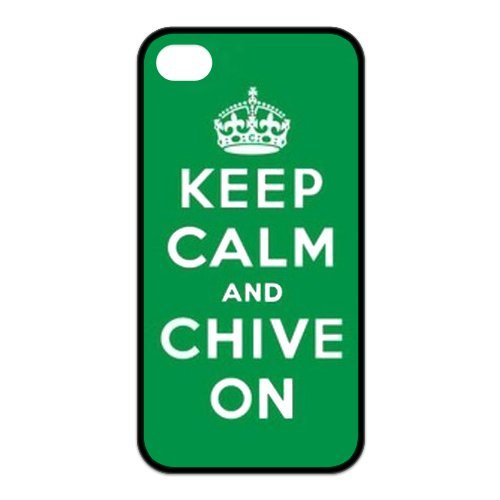 Treasure Design Keep Calm And Chive On Apple Iphone 4/4S Best Rubber Cover Case front-691745