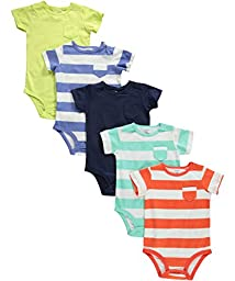 Carter\'s 5 Pack Bodysuits (Baby) - Stripes/Solids-12 Months