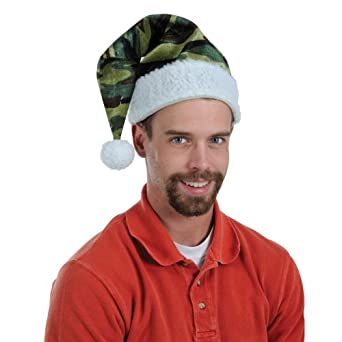 Army Camouflage Print Christmas Santa Hat with White Trim - Adult Size 17 Inch