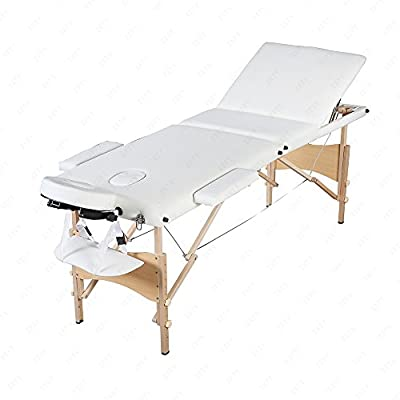 MSG 3 Fold Portable Massage Table Facial Spa Bed Tattoo W/Free Carry Case White