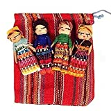 Four Large Worry Dolls with Pouch