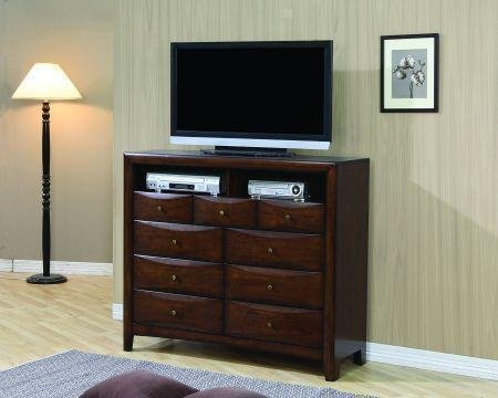 Tv Dresser Stand Contemporary Style In Warm Brown Finish