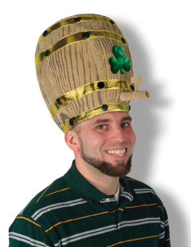 Plush Shamrock Beer Barrel Hat - One Size Fits Most - 6 Pack [18 Pieces] *** Product Description: Plush Hat In The Shape Of A Beer Barrel With Green Shamrock Leaf In The Center. Perfect For Cosplay And Costume Parties. One Size Fits Most 1 Per Pa *** front-494030