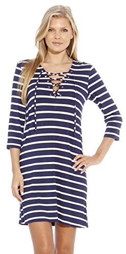 CS401226-BLU-M Christian Siriano New York Designer Dresses - Nautical Stripe Nautical Stripe Dress