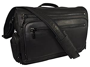 "Kenneth Cole New York, ""Mess-ed The Deadline"" Black Leather Business Case, Messenger Bag w Shoulder Strap by N/A"