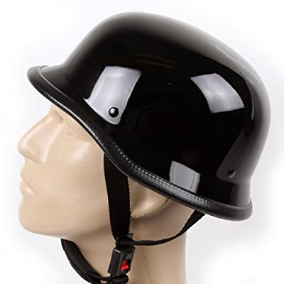 Low Profile Novelty German Chopper Half Helmet Skull Cap Gloss Black from Ivolution Sports Inc