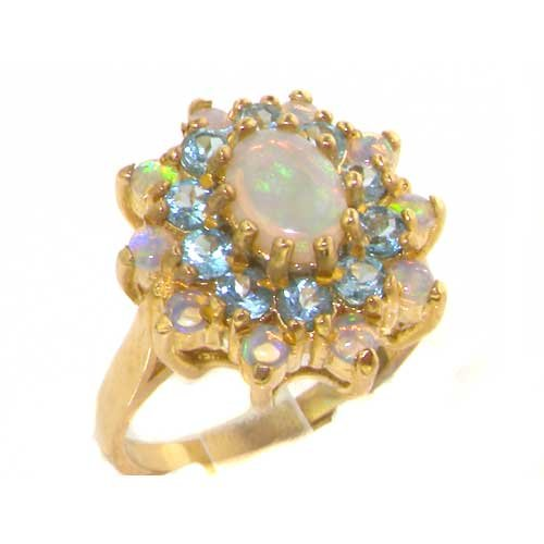 Fabulous Solid Yellow Gold Natural Opal & Blue Topaz 3 Tier Large Cluster Ring - Size 12 - Finger Sizes 5 to 12 Available - Suitable as an Anniversary ring, Engagement ring, Eternity ring, or Promise ring