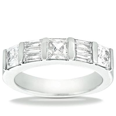 2.00 ct Ladies Princess and Baguette Cut Diamond Wedding Band In Channel Setting in 18 kt White Gold