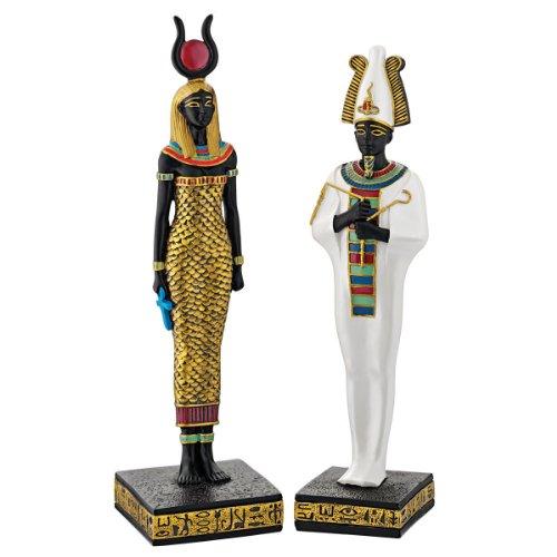 Progettare Toscano QL951222 Antico Egitto dèi Osiride e Hathor Statue di due parti