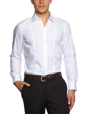 Strellson Premium Herren Businesshemd Slim Fit 11002378 / L-Nick, Gr. 44, Weiß (119)