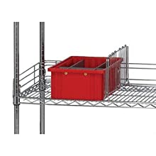 """Quantum Storage Systems SL24 Side Ledge for 24"""" Deep Wire Shelving Units, Chrome Finish, 1"""" Width x 24"""" Length x 4"""" Height"""