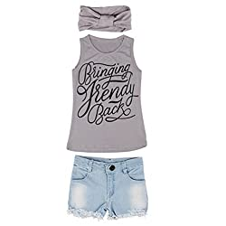 Rosennie 1Set Kid Baby Girls Vest Top+Jeans Shorts+Hair Band Suit Outfit