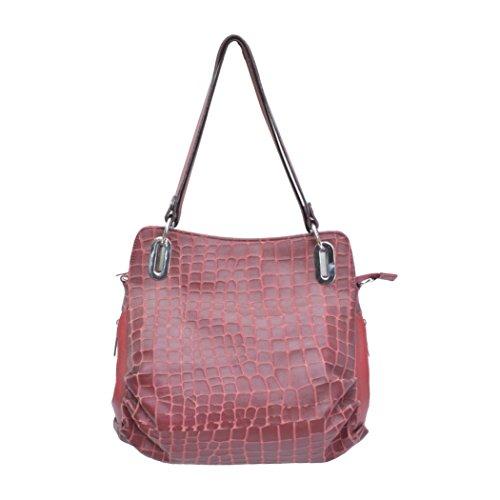 Red Leather Farm Aileter Handbag (Red)