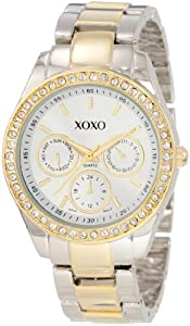 XOXO Women's Rhinestone Accent Two Tone Bracelet Watch Silver XO5429