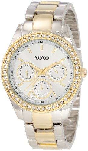 XOXO Womens XO5429  Rhinestone Accent Two-Tone Bracelet Watch