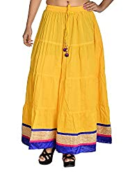 Aura Life Style Women's Cotton Loose Fit Ethnic Skirt (ALSK4014D, Yellow, Free Size)