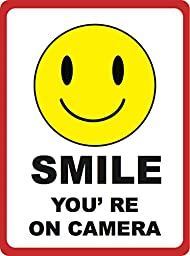 Smile, You\'re on Camera Sign - Under Surveillance Signs - Aluminum Metal